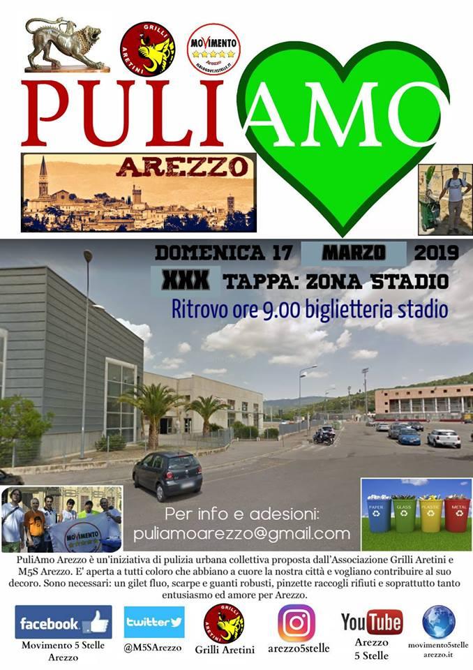 Domenica 17 febbraio PuliAMO Arezzo XXIX tappa: zona Stadio